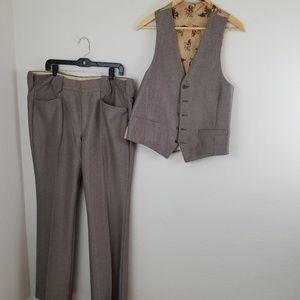 Vintage Suits & Blazers - Vintage 4 Piece Western 70s Mens Suit Size 40R